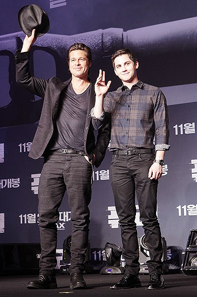 Brad Pitt and Logan Lerman