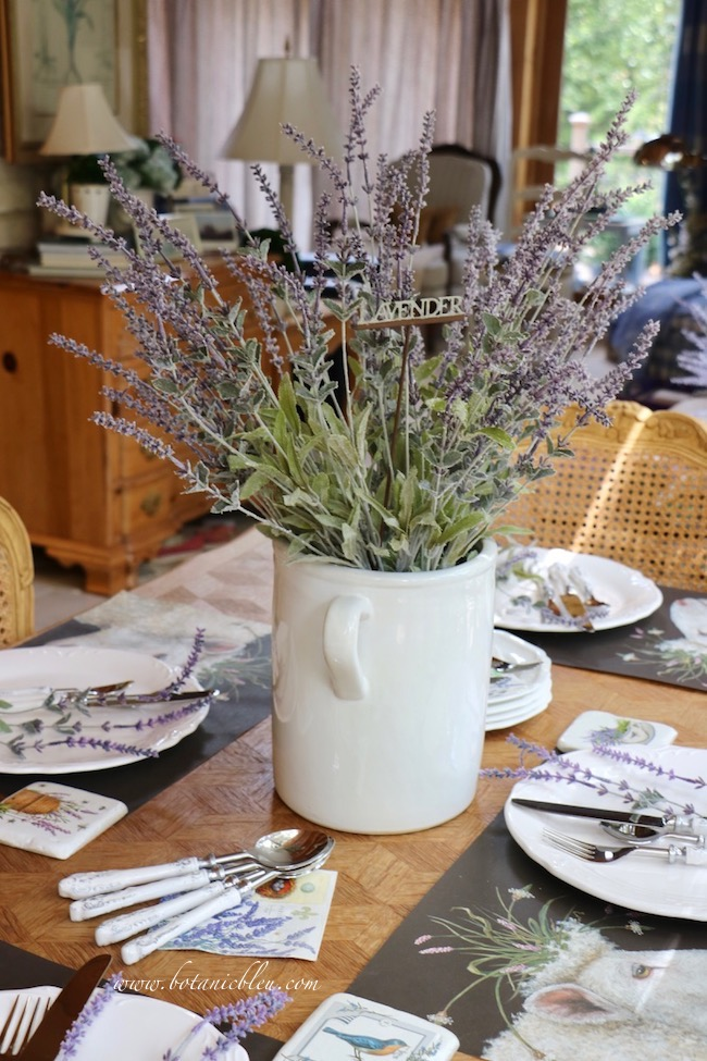 Whimsical Summer Faux Lavender complements paper placemats with sheep crowned with wildflowers