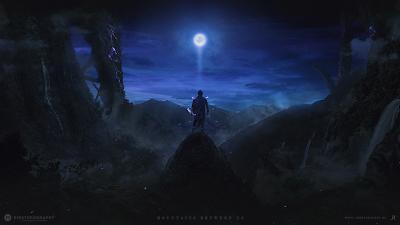 Guerrero mágico en una cima mirando a la luna