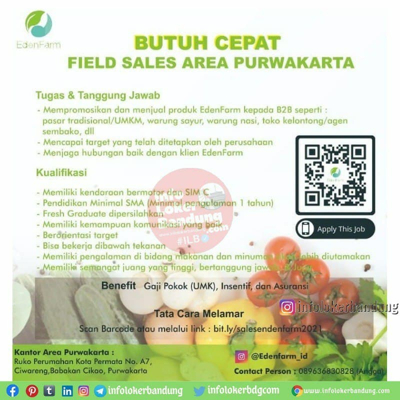 Lowongan Kerja Field Sales Area Purwakarta Eden Farm April 2021