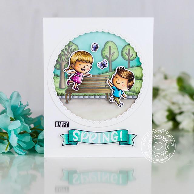 Sunny Studio Stamps: Phoebe Alphabet Spring Showers Spring Scene Banner Basics Fancy Frame Dies Spring Card by Rachel Alvarado