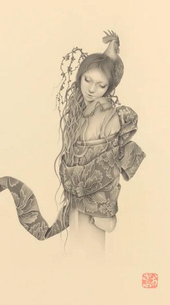 by Ozabu, 逃げても 逃げても (Nigete Mo Nigete Mo), 2019 | imagenes dibujos de mujeres a lapiz | soledad femenina | woman art