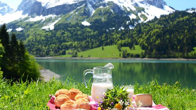 Picnic bij een meer in de bergen. Met een kan met melk, broodjes, bloemen en kaas.
