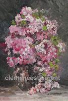 Roses blanches et roses en cascade dans un vase - huile 7 x 5 par Clémence St-Laurent