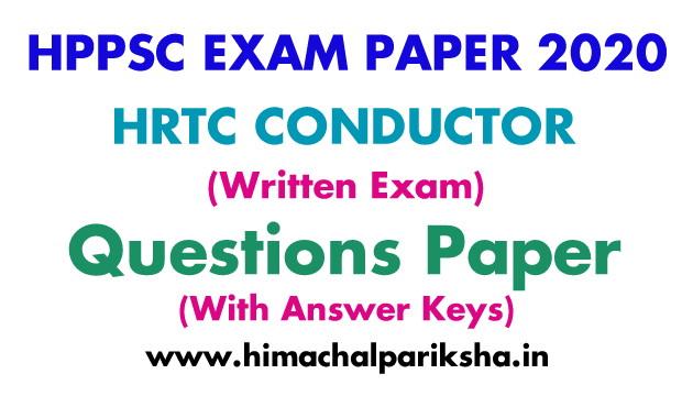 HRTC Conductor Exam 2020 | Question Paper | Answer Key | Himachal Pariksha