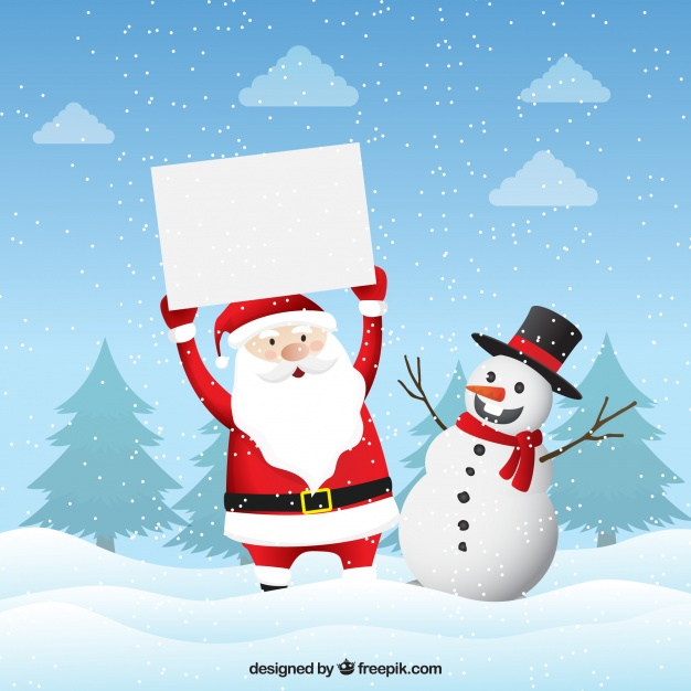 Christmas characters with blank sign Free Vector