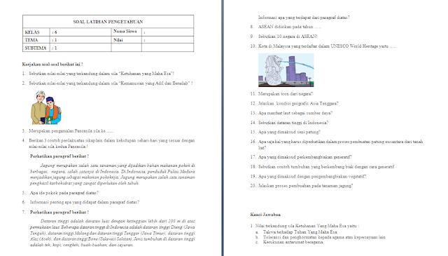 Soal Ulangan Harian Kelas 6 Tema 1
