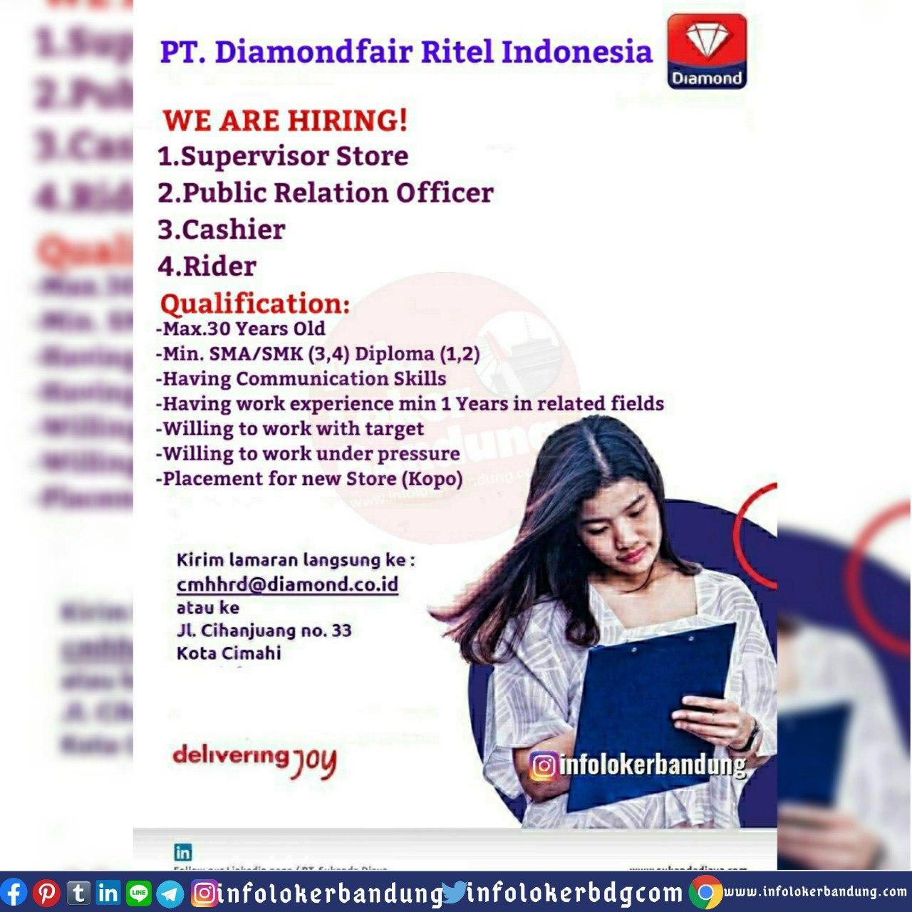Lowongan Kerja PT. Diamondfair Ritel Indonesia Bandung Mei 2020