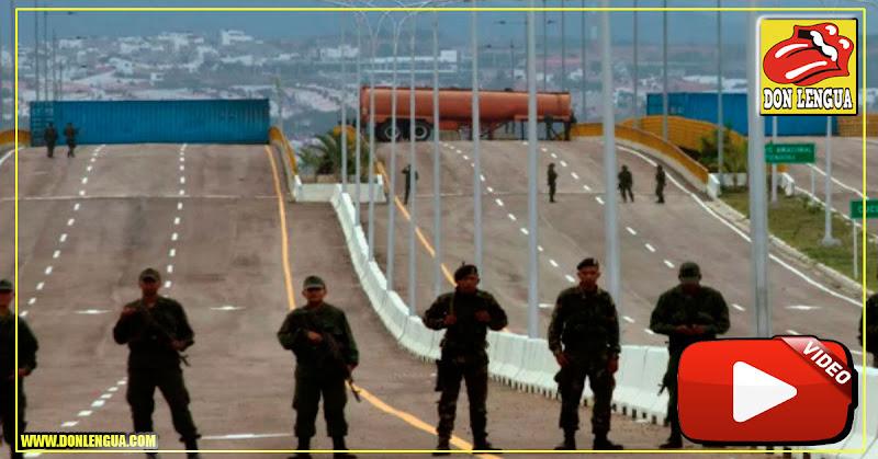 Casi 100 militares venezolanos evitan el paso en Las Tienditas, armados hasta los dientes
