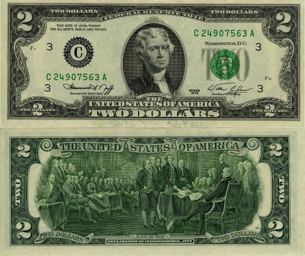 Ценность купюры 2 доллара 1876 года
