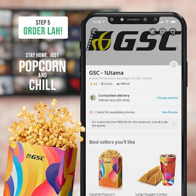 cara tempah popcorn gsc dari grabfood