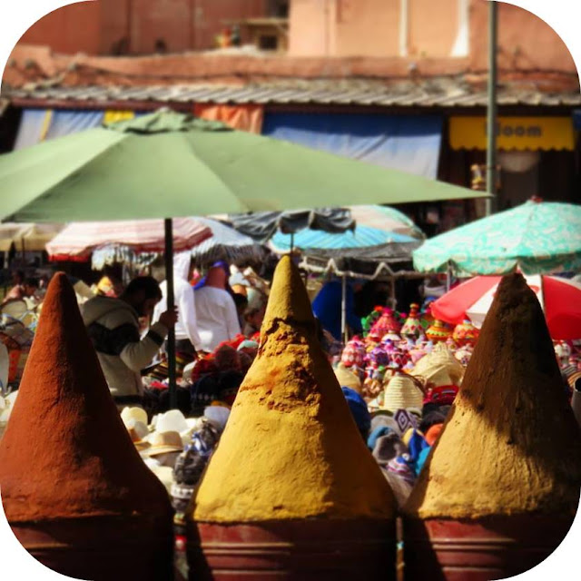 Long Weekend in Marrakech - Sidewalk Safari - piles of spices in the souks