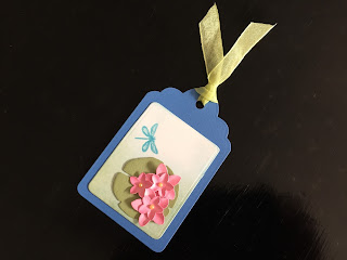 hand made waterlily and dragonfly gift tag