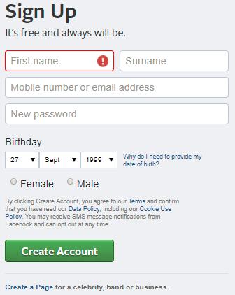 Open Account Facebook Login