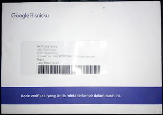 Contoh surat verifikasi Google Bisnisku yang dikirimkan oleh Google