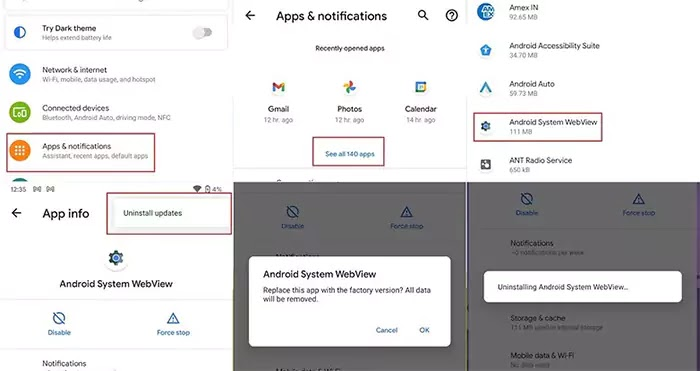 حذف تثبيت تحديثات Android WebView