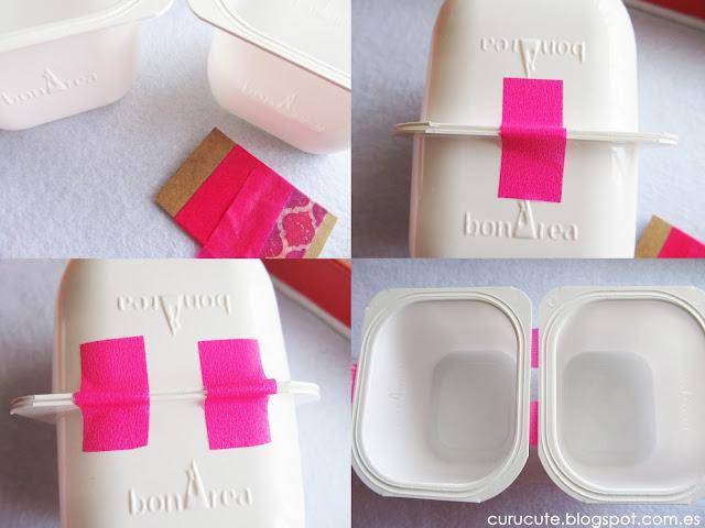 Reciclar envases de yogur con tela y washi tape