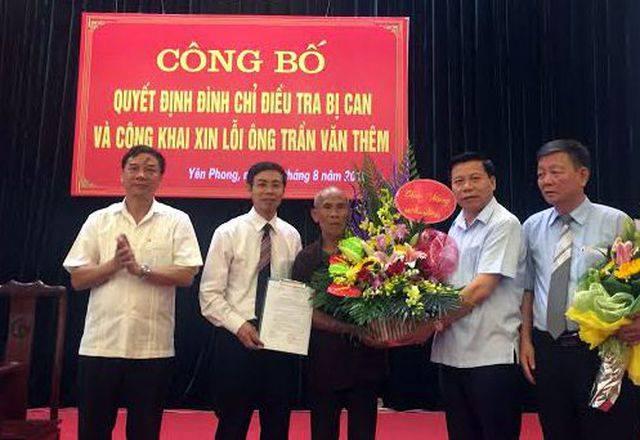 Ông Trần Văn Thêm được xin lỗi công khai sau 43 năm oan sai