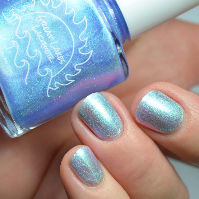 blue to purple shimmer nail polish swatch