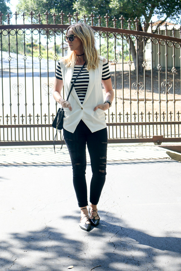 black and white striped crop top