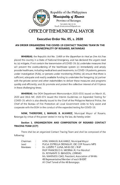 OMM E.O. No. 5 s.2020 Covid-19 Contact Tracing Team