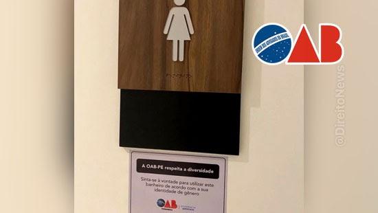 advogados fim ideologia genero banheiros oab