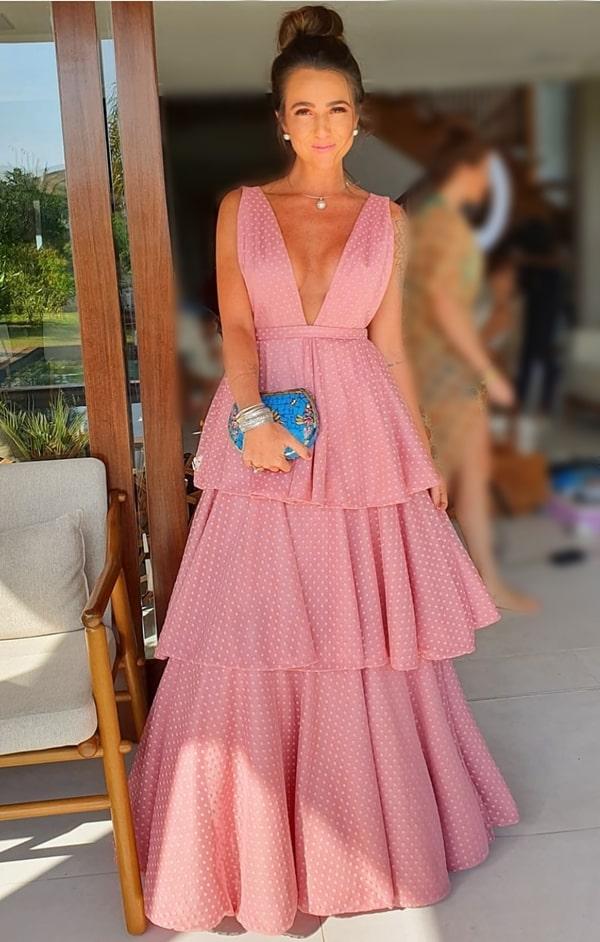 vestido de festa longo rosa de tule poa para madrinha de casamento