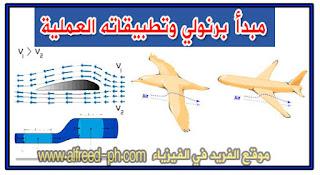 مبدأ ومعادلة برنولي وتطبيقاتها في السوائل أو الموائع والطائرات