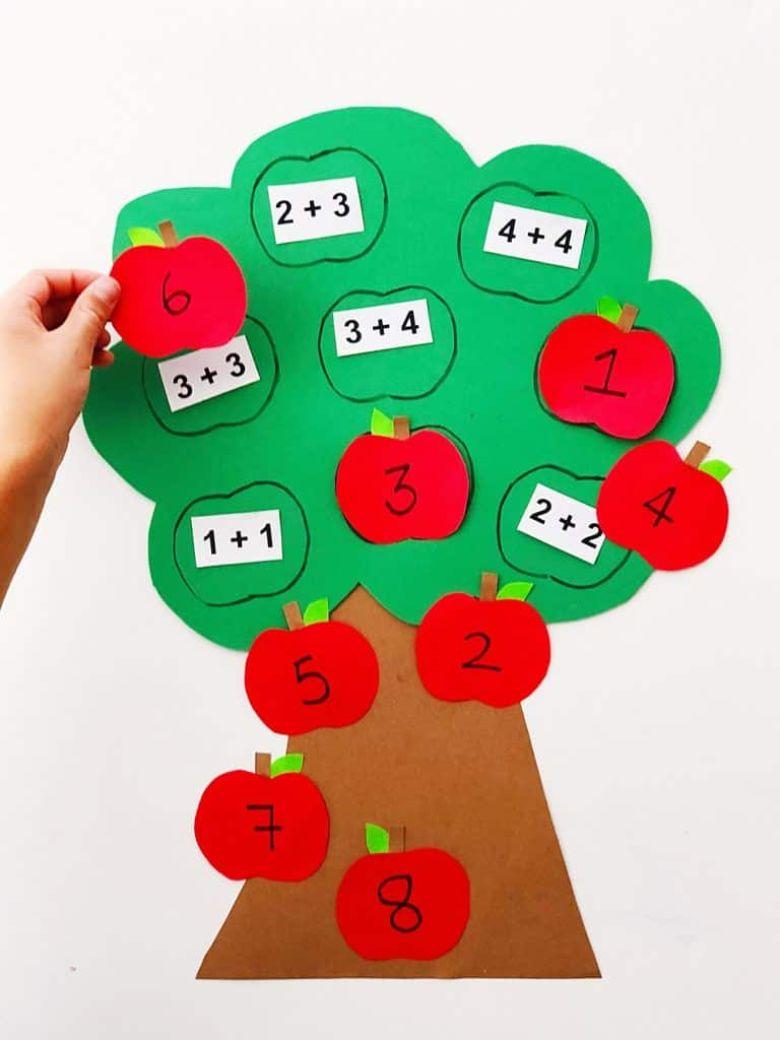 Apple tree autumn maths activity for kids