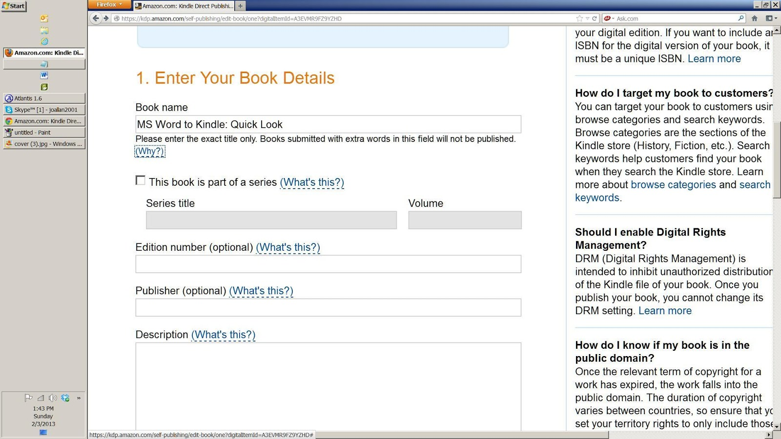 CJs Easy As Pie Kindle Tutorials: MS Word to Kindle Quick Look