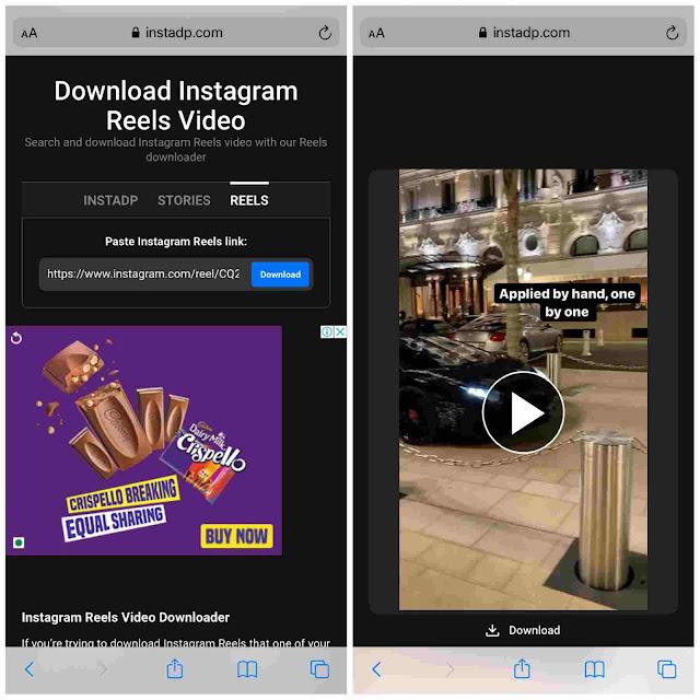Download Instagram reels in mp4 video