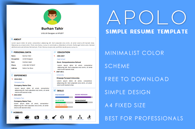 Apolo simple resume template free download