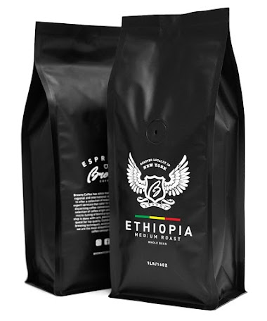 Browny Ethiopia Yirgacheffe Roasted Coffee Whole Beans - Premium Artisan Roast in 16oz (Medium Roast, 1 Pound) by Browny Coffee $17.59