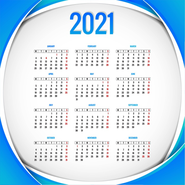 Calendario 2021 en color azul