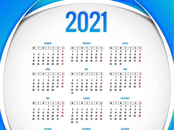 calendario en vector moderno 2021