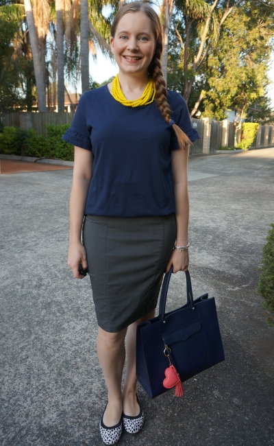 navy frill sleeve tee with grey pencil skirt yellow beaded statement necklace for the office | awayfromblue