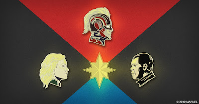 Captain Marvel Movie Portrait Enamel Pins by Matt Taylor x Mondo