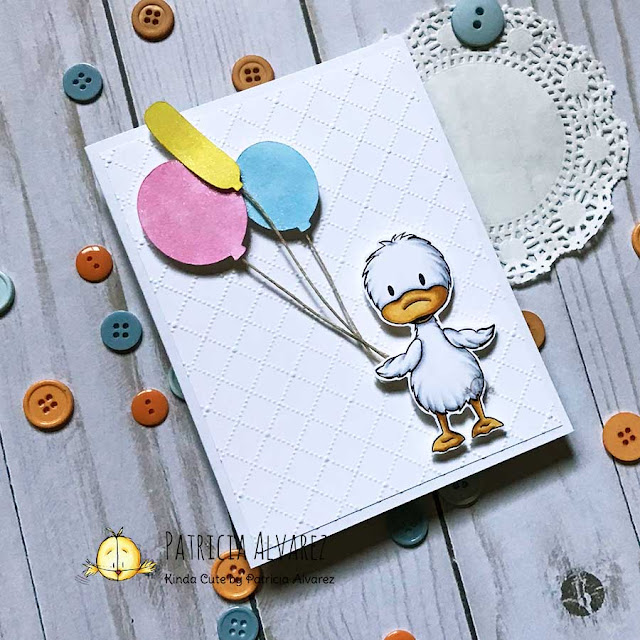 CAS card with a little duck with balloons