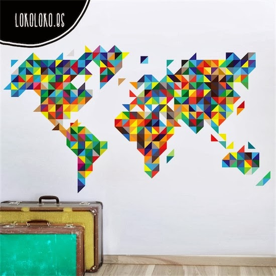 vinilo mapamundi multicolor lokoloko