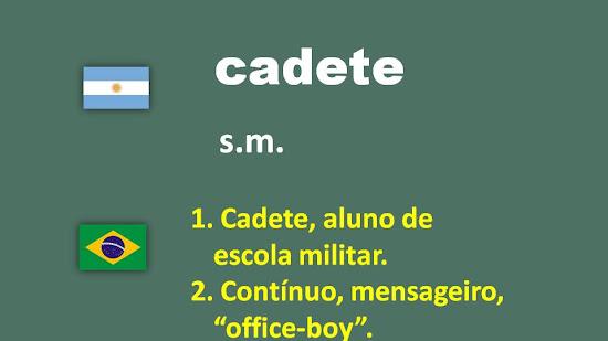 """Traducción del español al portugués: palabra """"cadete"""""""