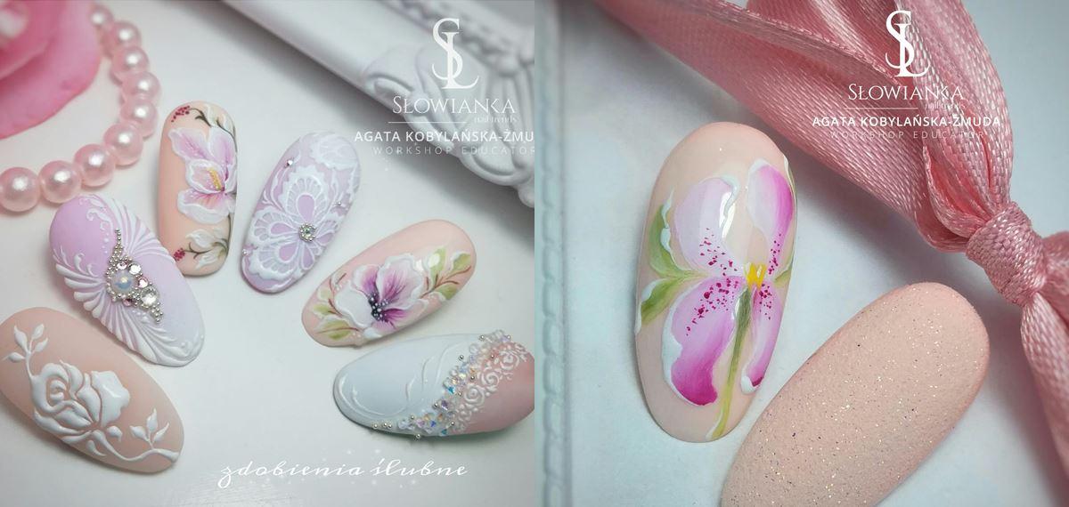 pastelowe kwiaty paznokcie
