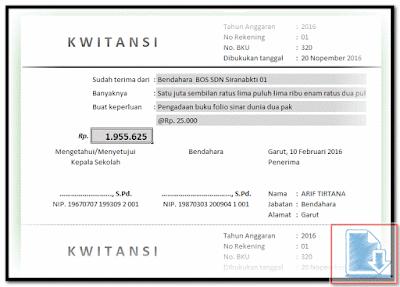 Aplikasi Cetak Kwitansi Untuk Laporan Spj Bos Format Excel