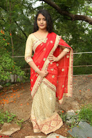 Akshara in Red Saree Golden Choli at LV Movie Makers Production No 1 Movie Opening ~  Exclusive 076.JPG