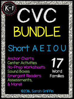 https://www.teacherspayteachers.com/Product/CVC-Word-Families-BUNDLE-Short-a-e-i-o-u-932262