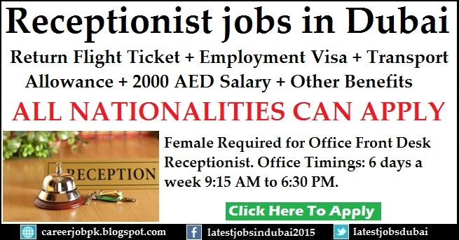 Female Receptionist jobs in Dubai