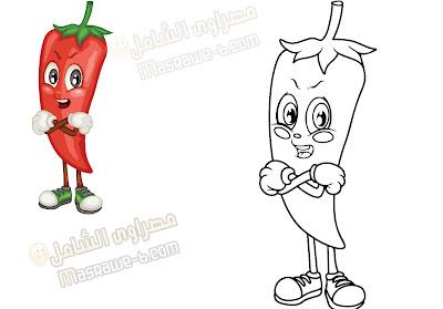 رسومات للتلوين فواكه وخضروات 3
