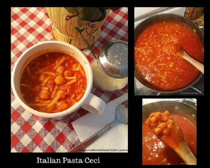 this is a collage of pasta and chickenpeas in sauce and how to make it step by step