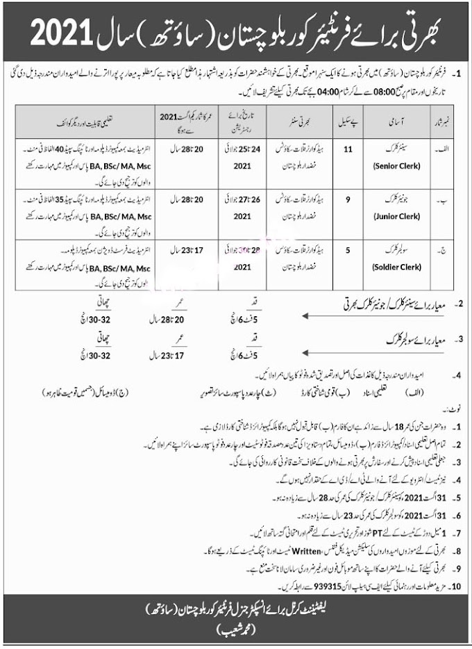 Frontier Corps FC Balochistan South Jobs 2021