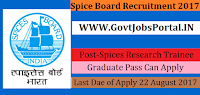 Spices Board Recruitment 2017– 24 Spices Research Trainee
