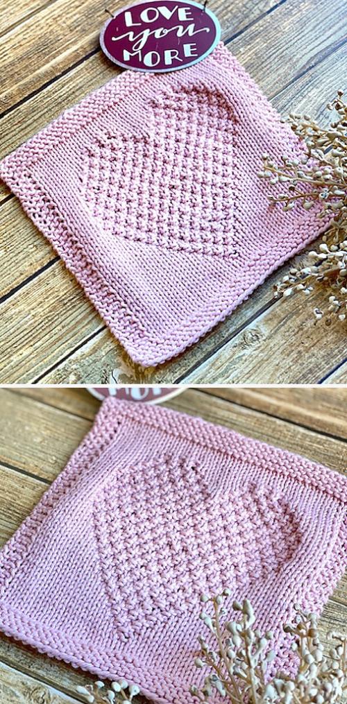 I Heart You Dishcloth - Knitting Pattern
